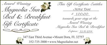 Specials & Discounts for the Magnolia Inn Bed & Breakfast